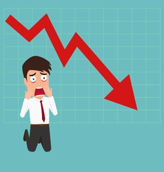 Business failure Down trend graph make shocked vector image