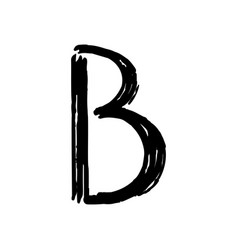 Capital letter b painted by brush vector