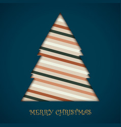 card of christmas tree colorful retro stripe vector image