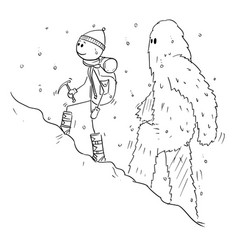 Cartoon drawing of mountaineer or alpinist vector