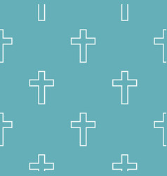 Catholic cross pattern seamless blue vector