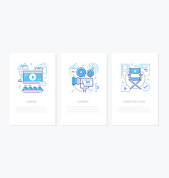 cinema - line design style banners set vector image