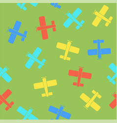 colored airplane silhouette seamless pattern vector image