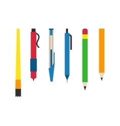 Colored engineering office pens and pencils vector image