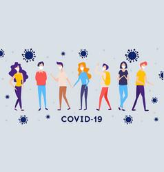 covid19-19 novel coronavirus people in white vector image
