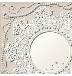Crochet doily with pearl necklace vector