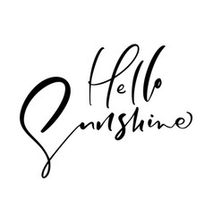 cute hello sunshine hand drawn lettering vector image