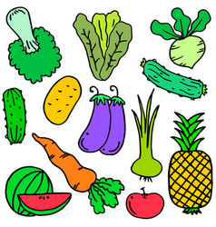 Doodle of vegetable object set vector
