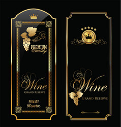 elegant black wine card vector image
