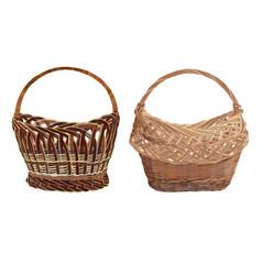 Empty wicker basket set isolated vector