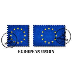 european union flag eu pattern postage stamp vector image