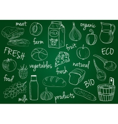 farm products doodles school board vector image