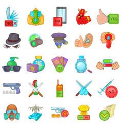 Felon icons set cartoon style vector