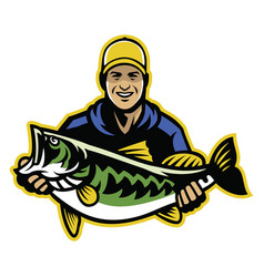 Fisherman and big catch of largemouth bass fish vector