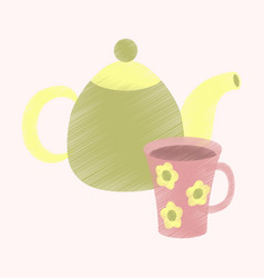 flat shading style icon tea kettle and cup vector image vector image