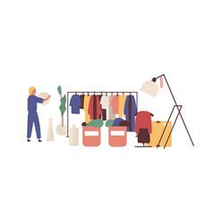 Flea market clothing bazaar flat vector