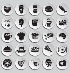 food and drinks set on plates background vector image