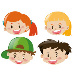 four happy faces of children vector image