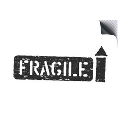 fragile arrow up grunge box sign for cargo vector image