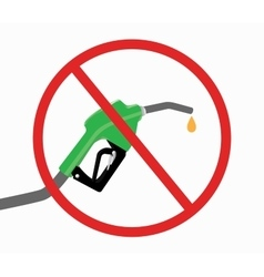 fuel pump with ban or stop icon and drop gasoline vector image