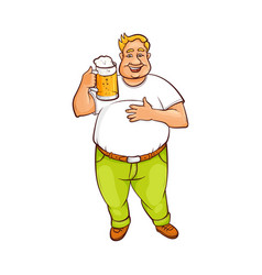Funny smiling fat man holding big mug of beer vector