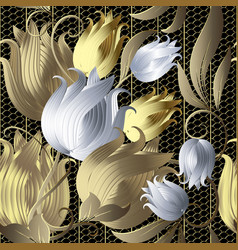 gold and silver 3d flowers vintage seamless vector image