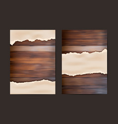 Grunge paper on wooden wall in a4 size design vector