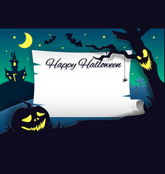 happy halloween party invitation paper cut vector image