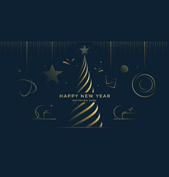 happy new year greeting card with gold toys vector image