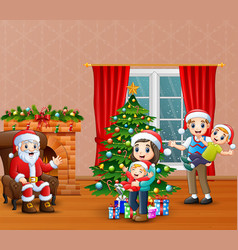 happy santa calus with family celebration a christ vector image