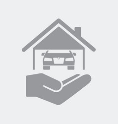 house and car garage vector image