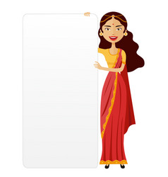India woman with a board presentation flat vector