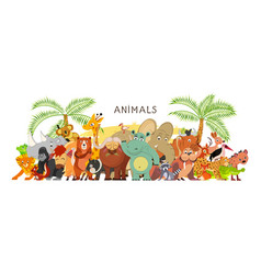 large group animals in cartoon flat style stand vector image