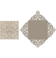 Laser cut envelope template for invitation vector