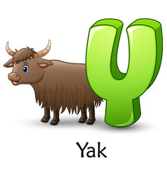 Letter y is for yak cartoon alphabet vector