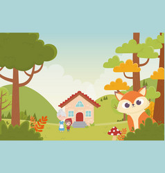 Little red riding hood grandma house and wolf in vector
