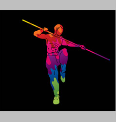 Man with quarterstaff action kung fu pose vector