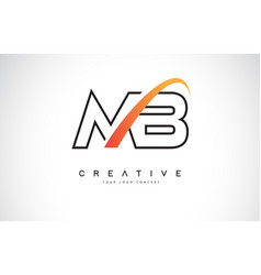 Mb m b swoosh letter logo design with modern vector