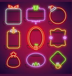 merry christmas neon frames set vector image