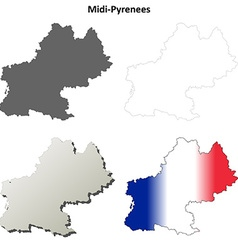 Midi-Pyrenees blank detailed outline map set vector