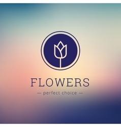 Minimalistic flower shop logo Tulip brand vector