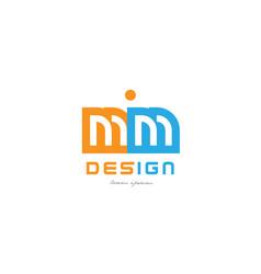 Mm m m orange blue alphabet letter logo vector