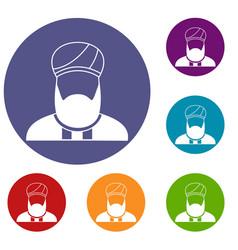 Muslim preacher icons set vector