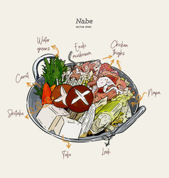 nabe japanese hot pot hand draw sketch vector image