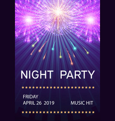 night party poster with fireworks vector image