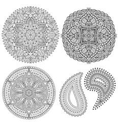 oriental spiritual symbols mandala buta elements vector image