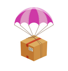 Parachute with cardboard box express home vector