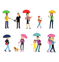 People under umbrella set men and women walking vector