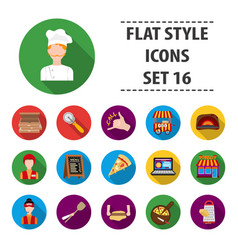 pizza and pizzeria set icons in black style big vector image