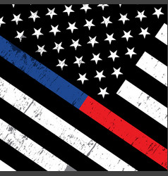 police and firefighter american flag background vector image